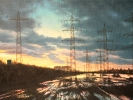 Abend mit Hochwasser, 2020, Öl auf Leinwand, 37 x 69