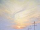 Abend mit Hochspannungsleitungen, Öl auf Leinw., 80 x 60,